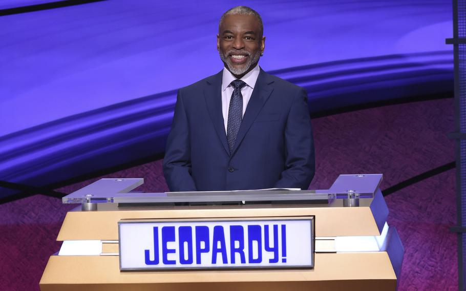 """""""Jeopardy!"""" guest host LeVar Burton is pictured on the set of the game show."""