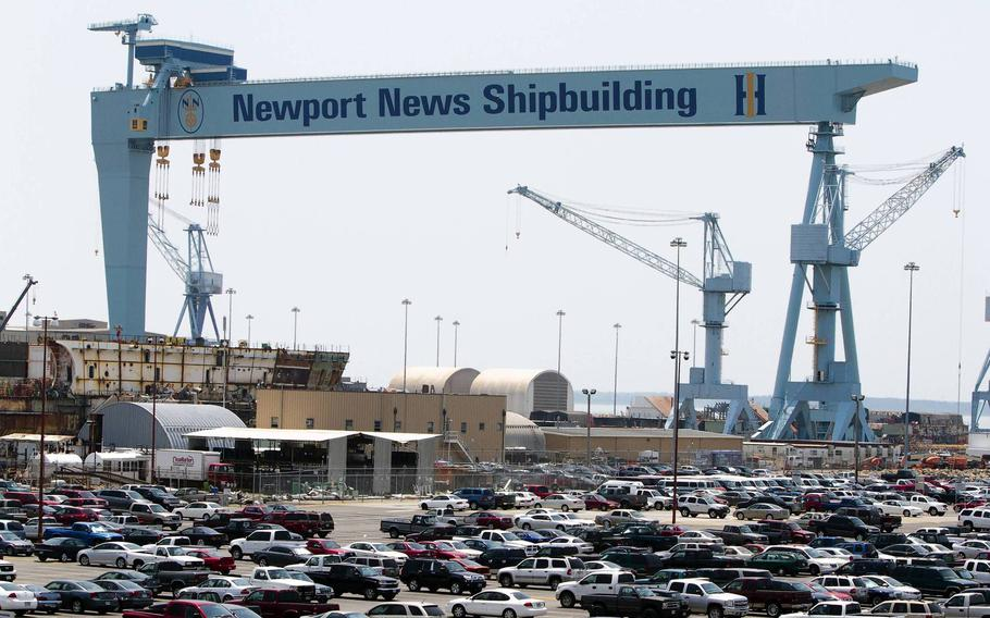 A view of the gantry crane over drydock #12 at Newport News Shipbuilding in Newport News.