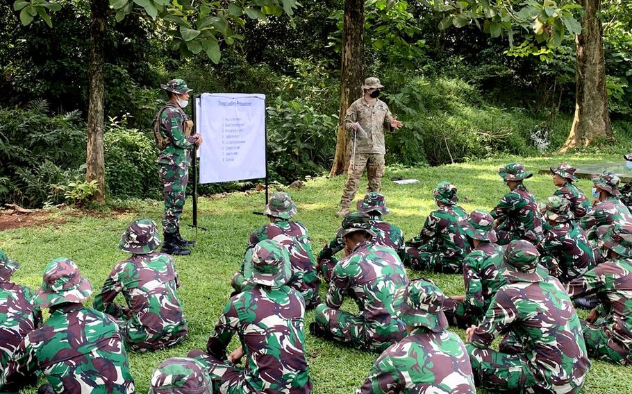 Captain LaShaun Smith, team leader of 1st Battalion, 5th Security Assistance Brigade deployed to Indonesia, teaches a leadership class to an Indonesian Army unit, April 1, 2021.