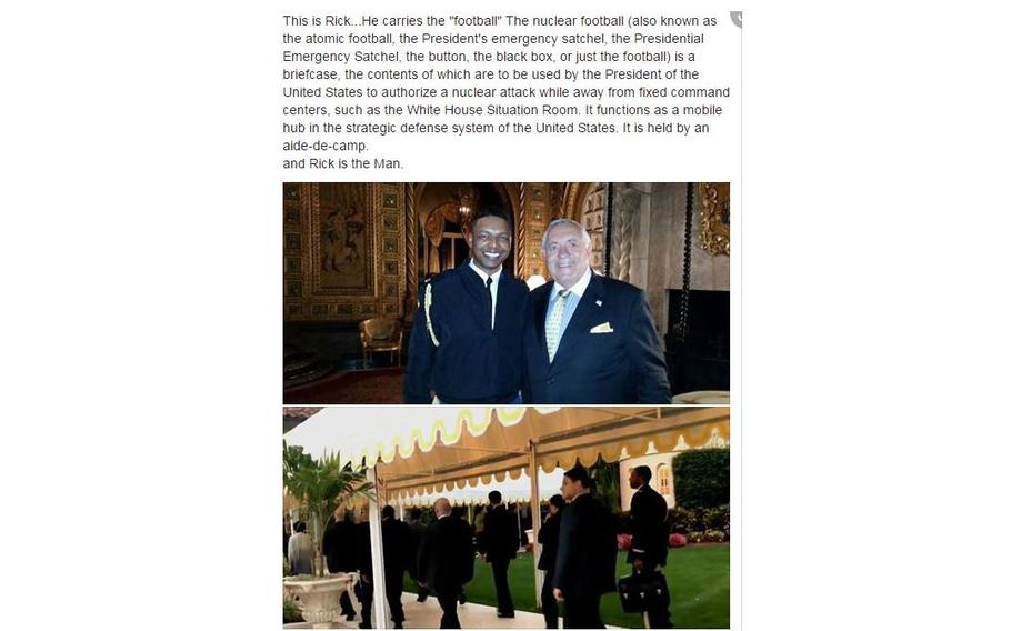 """In February 2017, a member of Trump's exclusive Mar-a-Lago club identified as """"Rick"""" posted a photo of himself on Facebook with the aide who was carrying the football at the time, raising security concerns."""