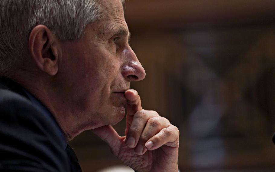 Anthony Fauci, director of the National Institute of Allergy and Infectious Diseases, during a Senate Appropriations Subcommittee hearing in Washington on May 26, 2021.