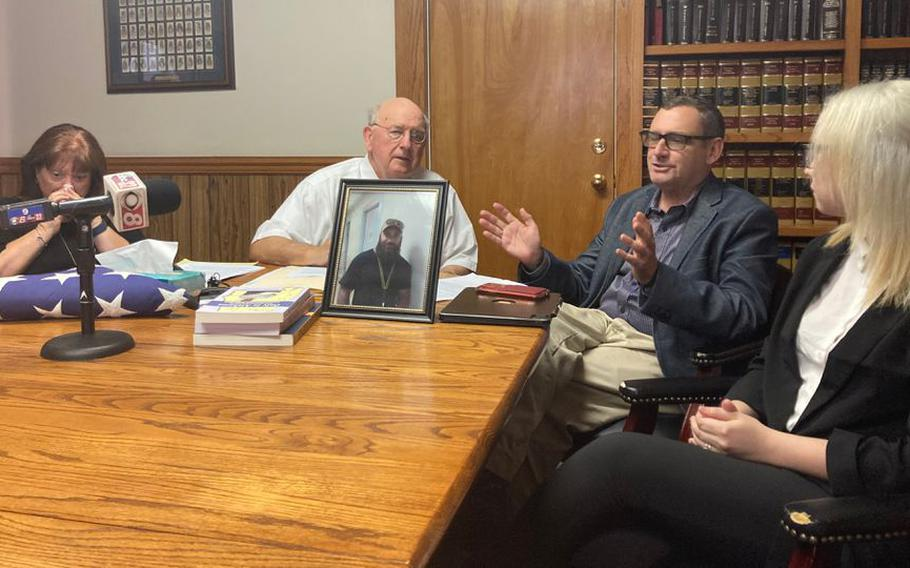 Retired Air Force Col. Andy Pears talks about the July 28 shooting death of his son, Afghanistan War veteran Jonathan Pears, by an Elmore County deputy . From left, Mary Pears, attorney Julian McPhillips and Kayleigh Pears.