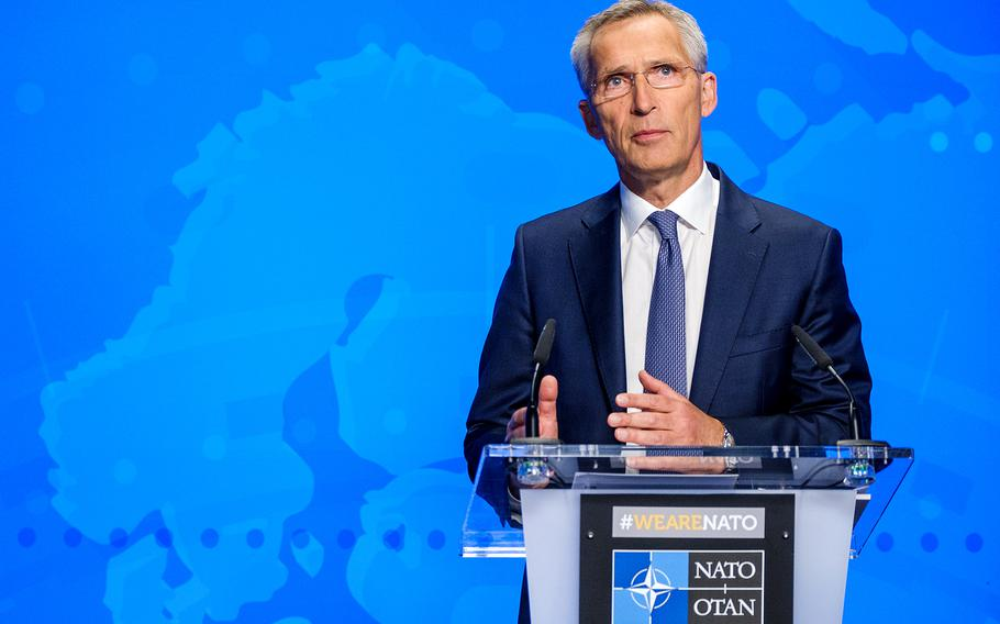 NATO Secretary-General Jens Stoltenberg briefs the media on the situation in Afghanistan at the alliance's headquarters in Brussels, Belgium, Aug. 17, 2021. He called on the Taliban to allow foreigners and Afghans seeking to leave Afghanistan to reach Kabul's airport Friday.