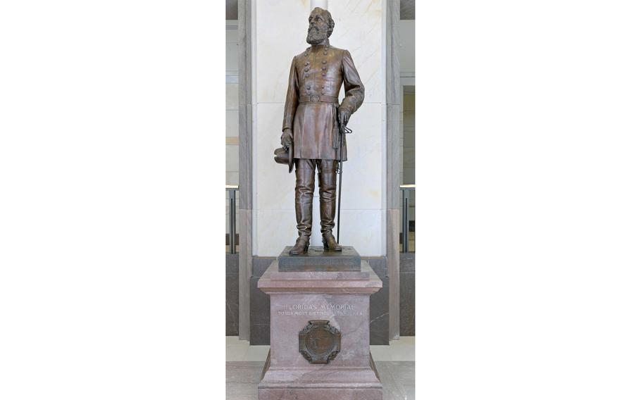 The statue of Confederate Gen. Edmund Kirby Smith is shown in the U.S. Capitol