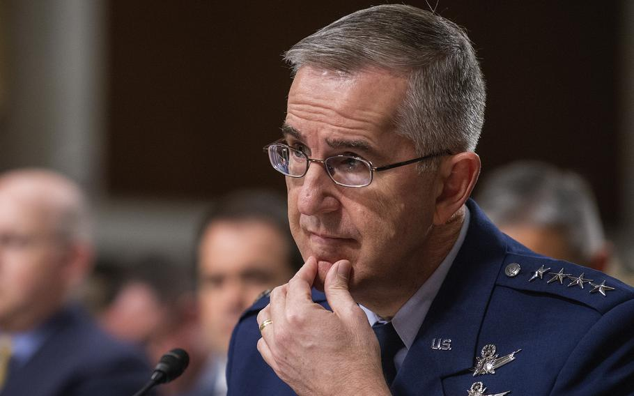 Gen. John Hyten listens to a question while testifying on during a Senate Armed Services Committee hearing on Capitol Hill in Washington in April 2019. The U.S. military was crippled during a classified October 2020 war game designed to test its ability against an adversary such as China, which has since prompted the Pentagon to revamp its plans for fighting, Hyten said recently.