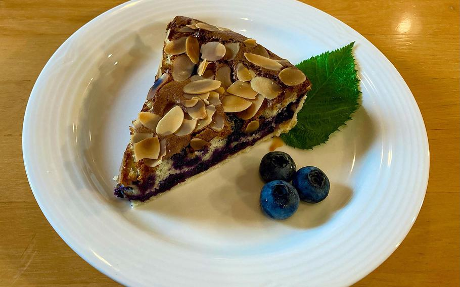 Seasonal desserts at Berry Cottage, a cafe and farm in Ome, Japan, include homemade blueberry tarts.