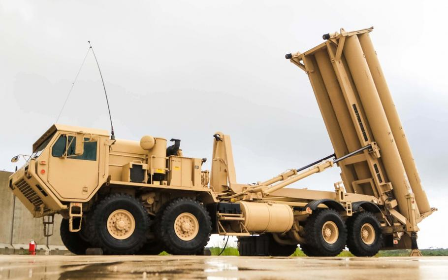 A Terminal High Altitude Area Defense weapon system, or THAAD.