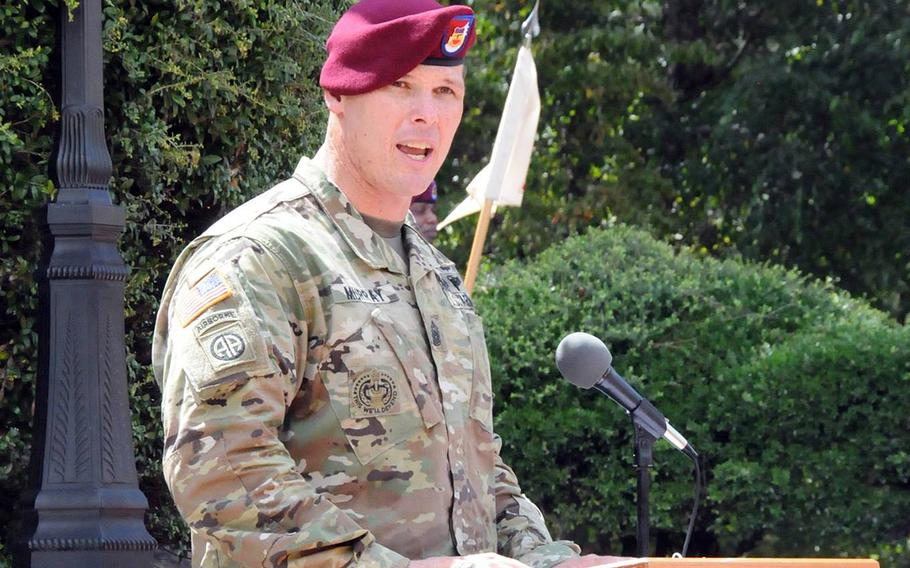 Then-Command Sgt. Maj. Clinton Murray at a ceremony in August 2016, at Fort Bragg, N.C. Murray faces several court-martial charges, including sexual assault and another related to destroying evidence.