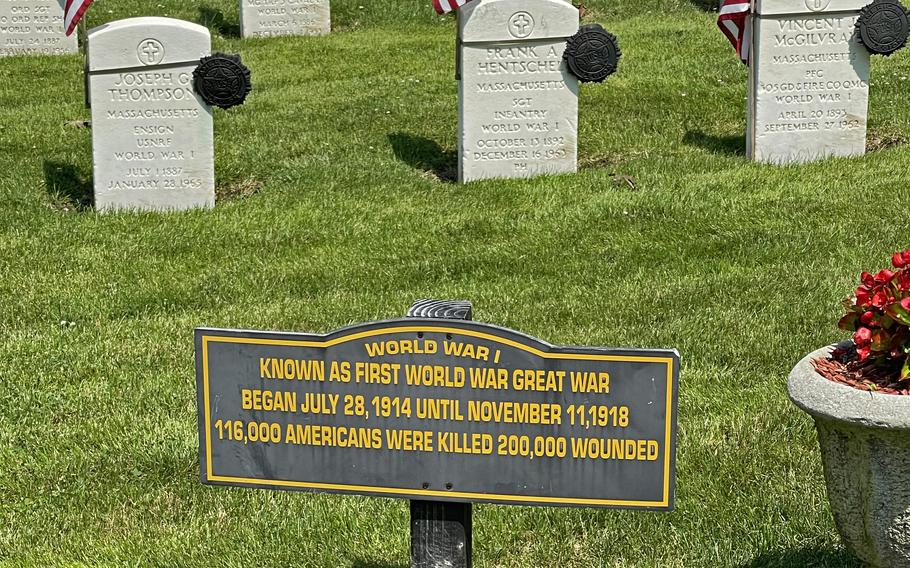 One of the new signs at Riverside Cemetery in Saugus, Mass., as seen on July 7, 2021. This sign is in the World War I area. There are also new signs in the Civil War section.