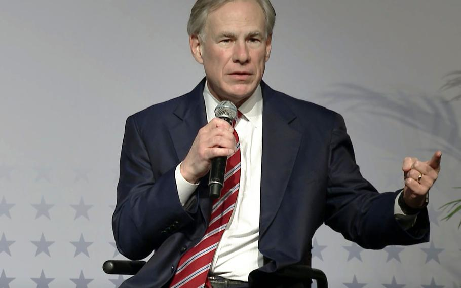 In this photo from March 7, 2021, Texas Gov. Greg Abbott announced the reopening of Texas by lifting state capacity limits on businesses and the masking requirement.