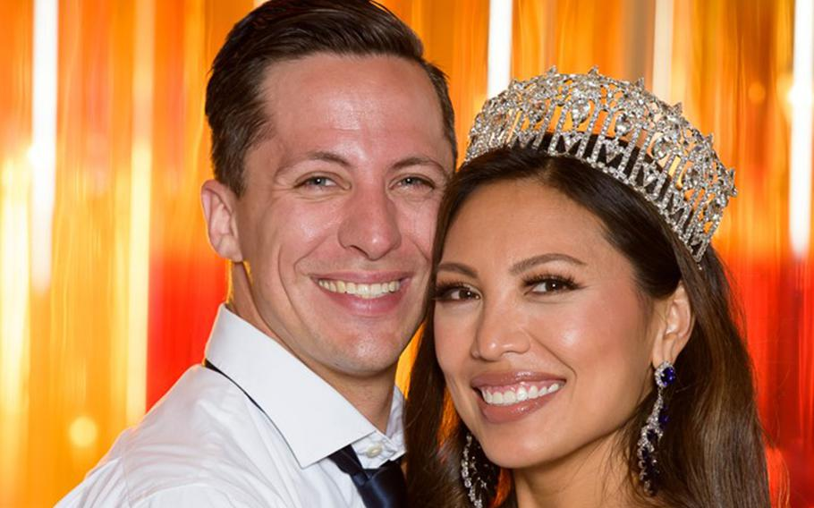 Air Force Maj. Raliene Banks won the Mrs. Regency International Pageant on July 31, 2021, with her husband, Maj. Joshua Banks, there to support her.