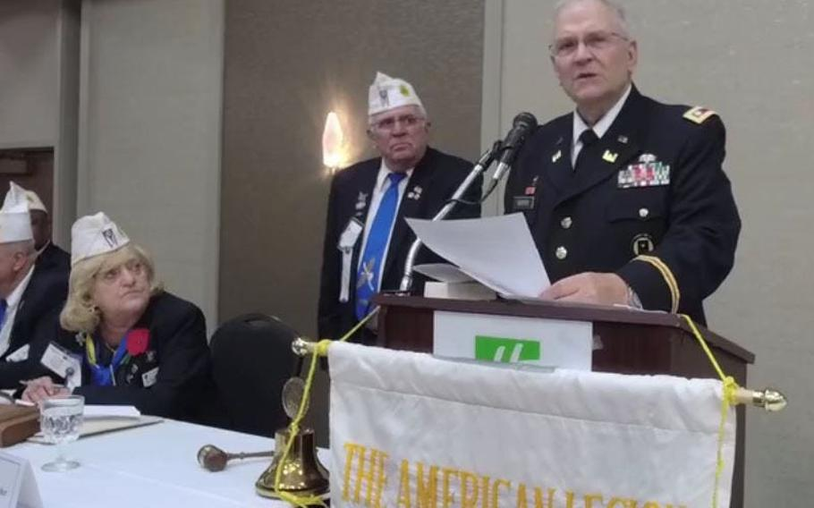 Retired U.S. Army Lt. Col Barnard Kemter repeats his Memorial Day address July 10 at the American Legion Department of Ohio's annual convention.