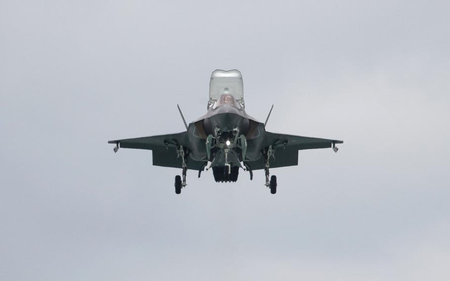 A U.S. Marine Corps. F-35B Lightning II fighter jet performs maneuvers during the Singapore Airshow in Singapore on Feb. 11, 2020.