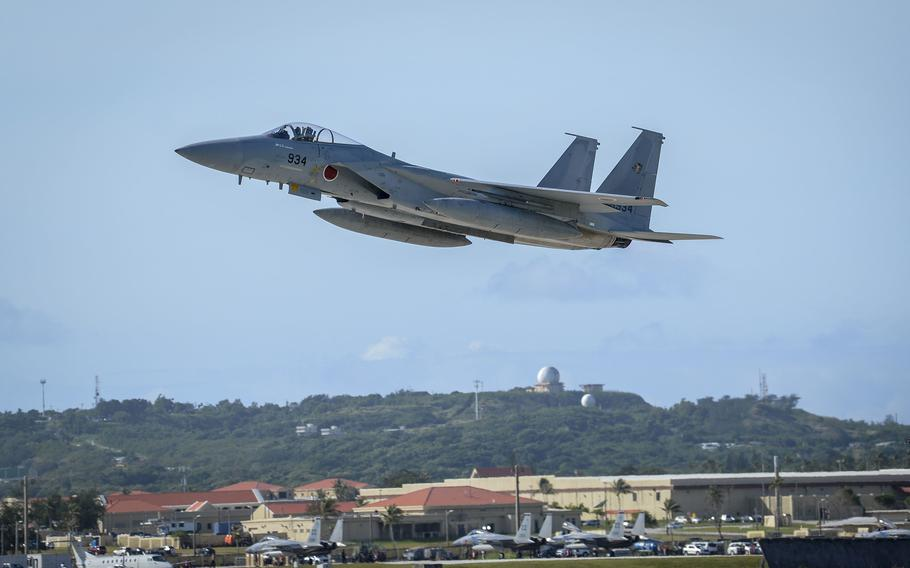 An F-15J Eagle from the Japan Air Self-Defense Force takes off from Andersen Air Force Base, Guam, Feb. 11, 2021.