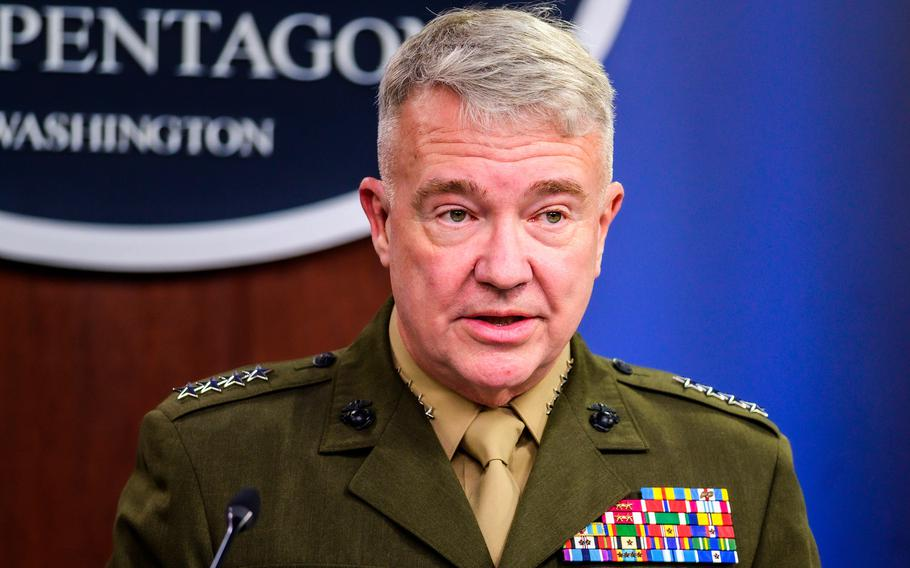 In an April 22, 2021 photo, U.S. Marine Corps Gen. Kenneth McKenzie, commander of U.S. Central Command, speaks with members of the press from the Pentagon Press Briefing Room.