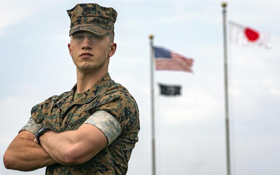 Marine Cpl. Eric John Niss-De Jesus, 24, of Mountain Lake, Minn., poses for a photo at Camp Foster, Okinawa, April 16, 2021.