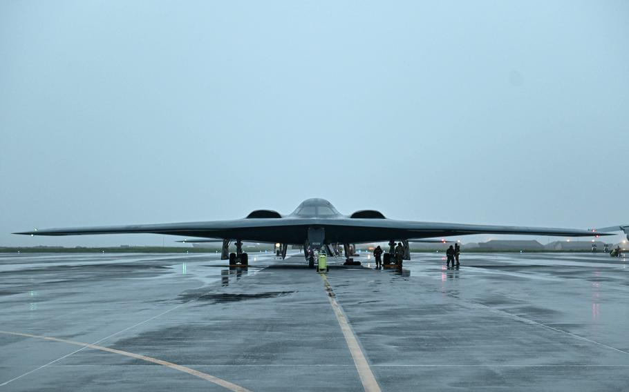 A B-2 Spirit stealth bomber arrives at Keflavik Air Base, Iceland, on Aug. 23, 2021. Three stealth bombers spent an extended deployment at the Iceland base.