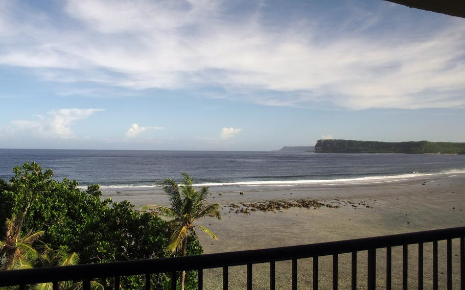 A view from a room in the Hilton Guam Resort and Spa at Tumon Bay in Guam. Congressional lawmakers and advocates are asking the Biden administration to consider evacuating Afghans who aided the United States and who are waiting for immigration visa processing to Guam, a U.S. territory.