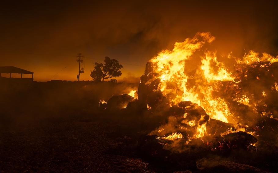 Farmer Greg Younghusband burns approximately 130 bales of hay that have been destroyed by mice near Gilgandra, NSW, Australia, on May 26, 2021.
