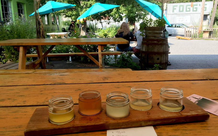 A sampler of kombuchas and ciders at the Urban Farm Fermentory.