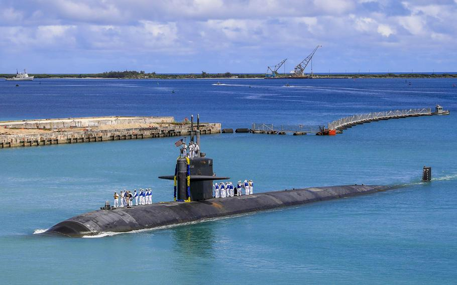 The Los Angeles-class fast attack submarine USS Oklahoma City (SSN 723) returns to U.S. Naval Base in Guam, Aug. 19, 2021. As tensions between France and the United States simmered this week over an Indo-Pacific defense deal that sank a multi-billion-dollar French submarine contract, two French generals quietly passed the baton at the helm of a key NATO command center.