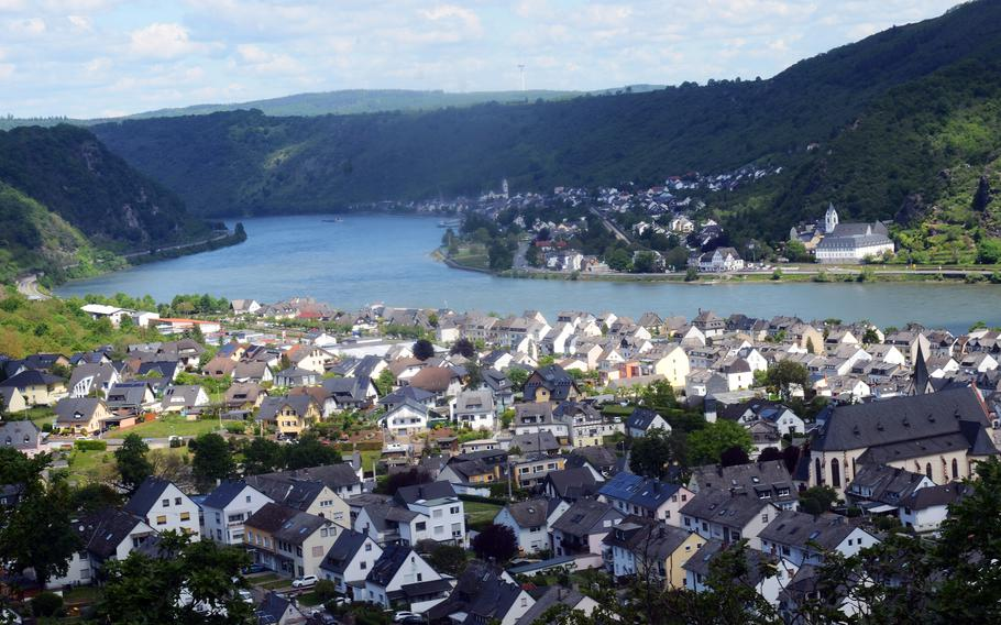 A view of Bad Salzig, Germany, and the Rhine River from a cliff on the RheinBurgenWeg, June 5, 2021.