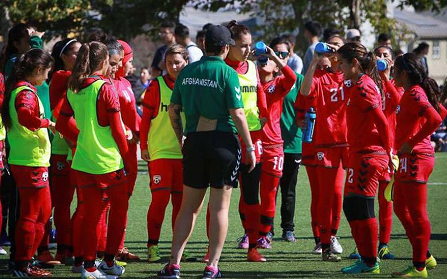 Members of the Afghan women's soccer team at a practice session. Eighty-six players, officials and family members were evacuated from Afghanistan to Australia.