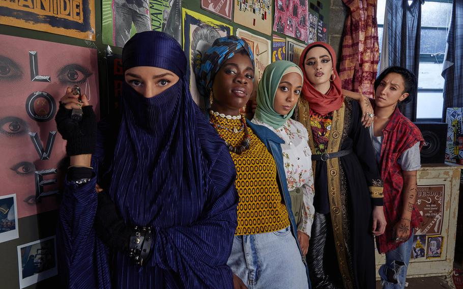 """From left to right: Lucie Shorthouse as Momtaz, Faith Omole as Bisma, Anjana Vasan as Amina, Juliette Motamed as Ayesha, Sarah Kameela Impey as Saira in """"We Are Lady Parts."""""""