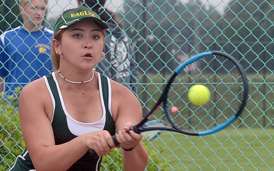 Robert D. Edgren senior Caitlyn Carroll is unbeaten in doubles this season with her fellow senior and teammate Jenna Mahoney.