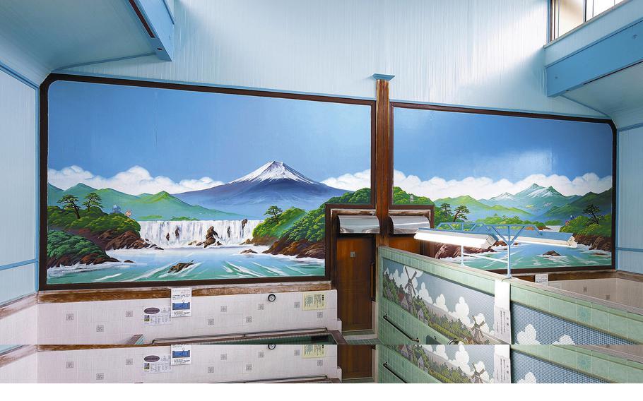 A painting of Mt. Fuji at the Daini Kotobuki-yu sento in Edogawa Ward, Tokyo.