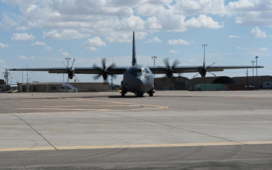 A U.S. Air Force Lockheed C-130 Hercules taxis after landing in support of Department of State-led Operation Allies Welcome, Aug. 31, 2021, on Holloman Air Force Base, N.M.