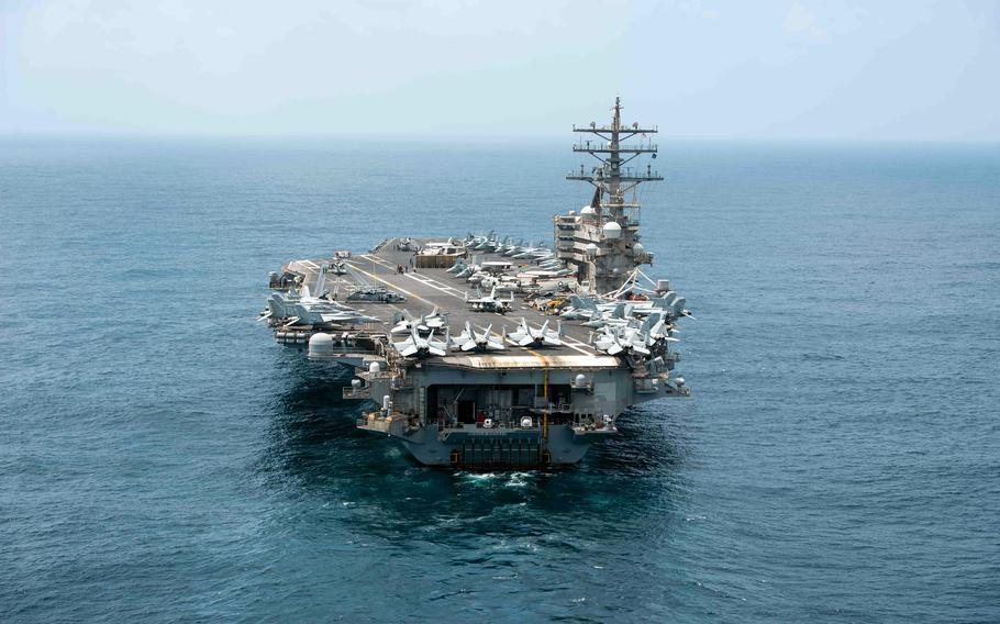 The aircraft carrier USS Ronald Reagan steams through the Arabian Sea, Sept. 6, 2021.