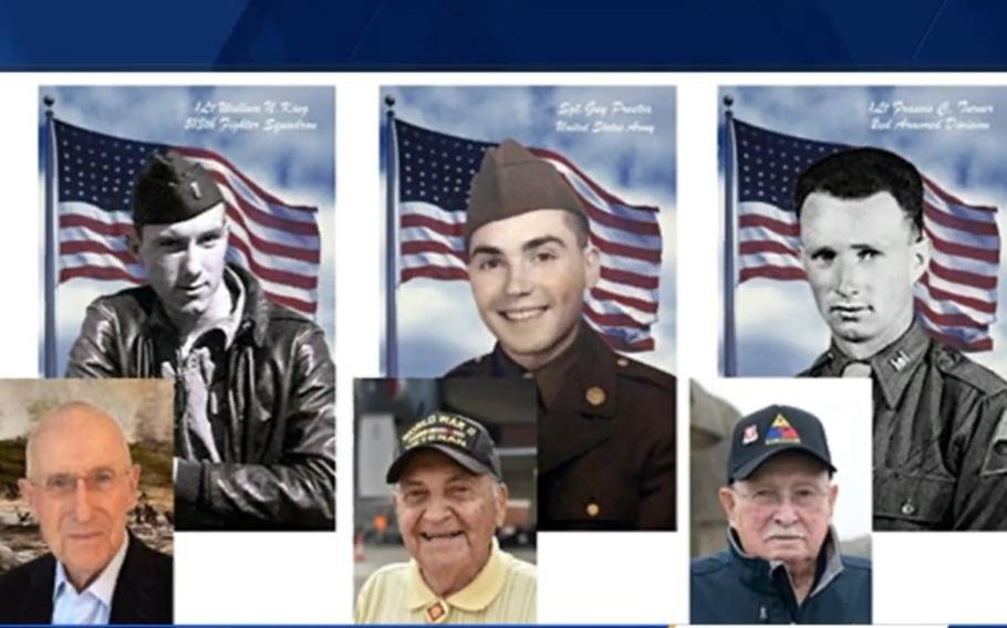 Wallace N. King, 97, Guy Prestia, 99, and Francis C. Turner, 102, were admitted to the Legion of Honor for participation in the liberation of France in World War II.