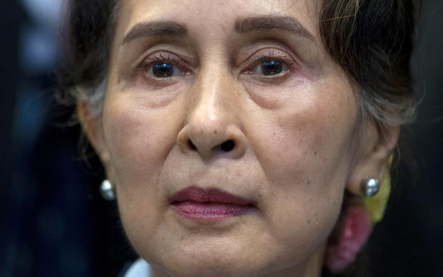 Myanmar's leader Aung San Suu Kyi waits to address judges of the International Court of Justice in The Hague, Netherlands, on Dec. 11, 2019. Myanmar's Anti-Corruption Commission has found that ousted national leader Aung San Suu Kyi had accepted bribes and misused her authority to gain advantageous terms in real estate deals, government-controlled media in the military-ruled country reported Thursday, June 10, 2021.