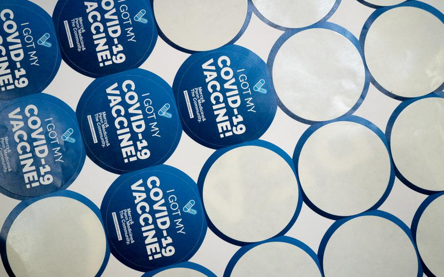 Vaccine stickers at the coronavirus vaccination clinic at the School of the Future in Philadelphia on May 22, 2021.
