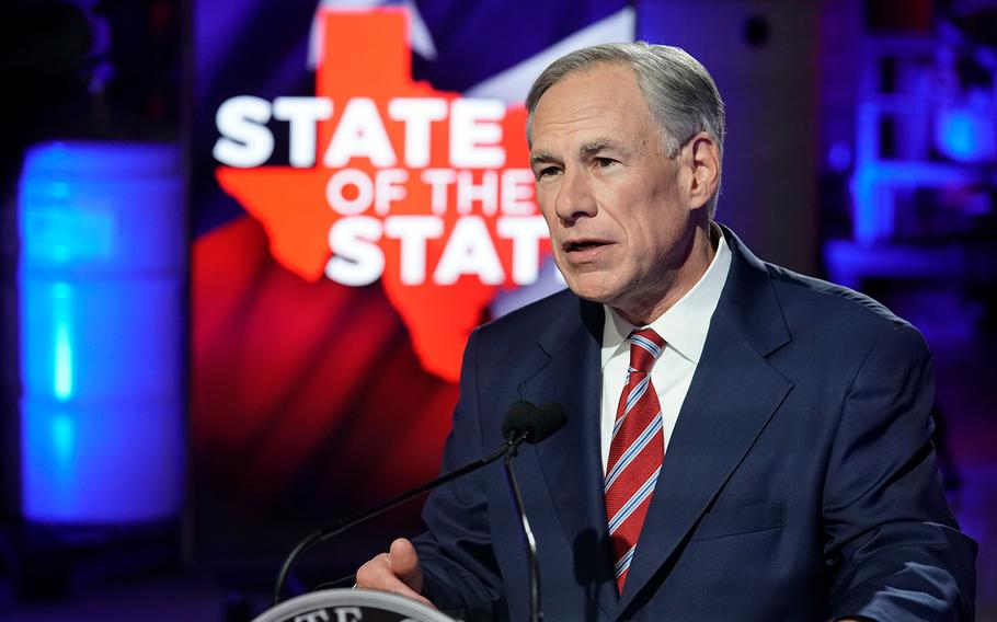 Texas Gov. Greg Abbott gives a State of the State address on Feb. 18, 2021. Abbott said on Thursday, June 10, that due to the illegal immigrant crisis at the U.S.-Mexico border, Texas is planning to build a border wall.