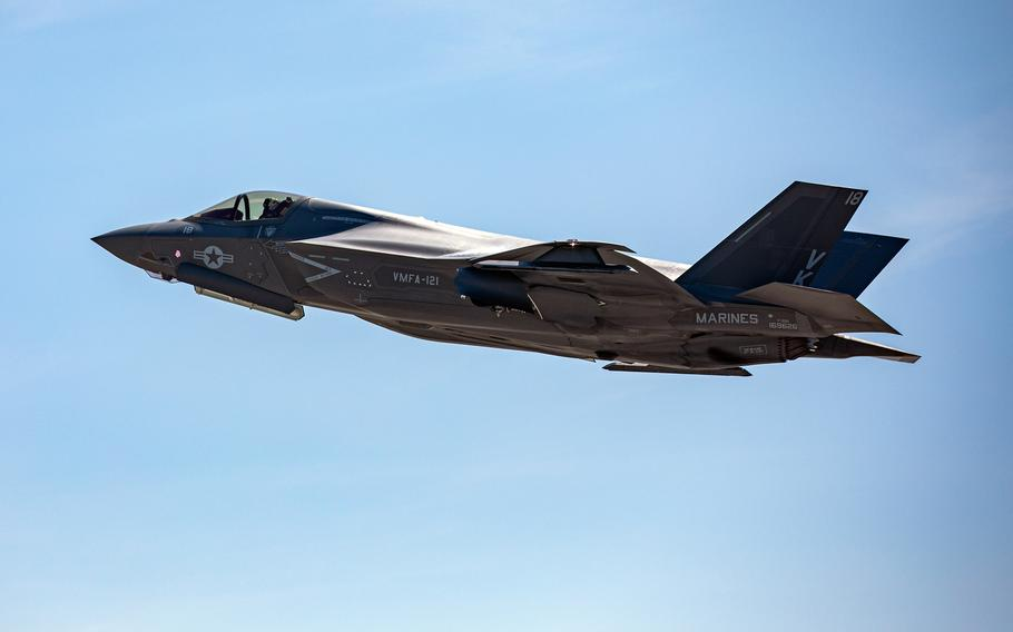 An F-35B Lightning II takes off from Marine Corps Air Station Iwakuni, Japan, Aug. 18, 2020. The B variant of the joint strike fighter is capable of short takeoffs and vertical landings.