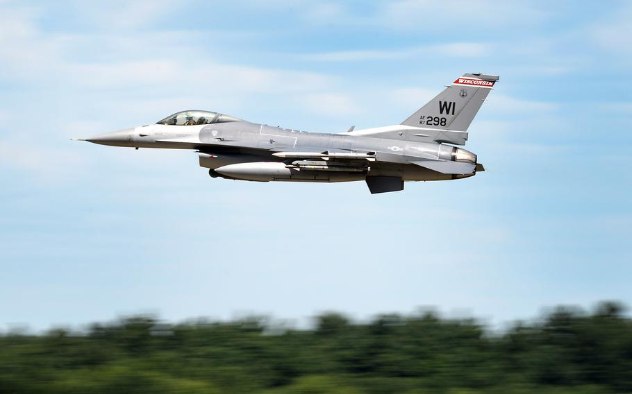 A U.S. Air Force F-16 Fighting Falcon with the 115th Fighter Wing, Wisconsin Air National Guard.