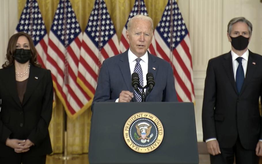 President Joe Biden delivers remarks on Afghanistan.