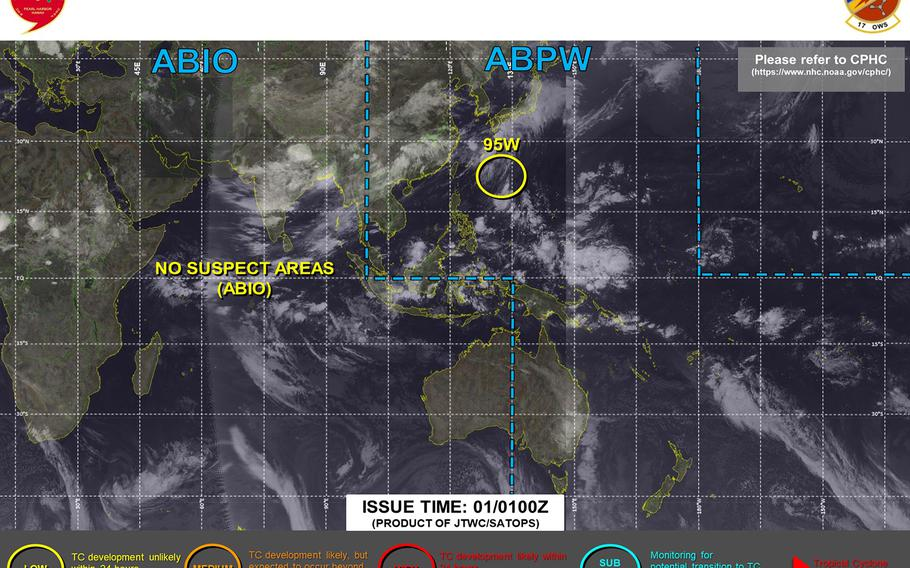 95W Invest downgraded to low area for development by Joint Typhoon Warning Center