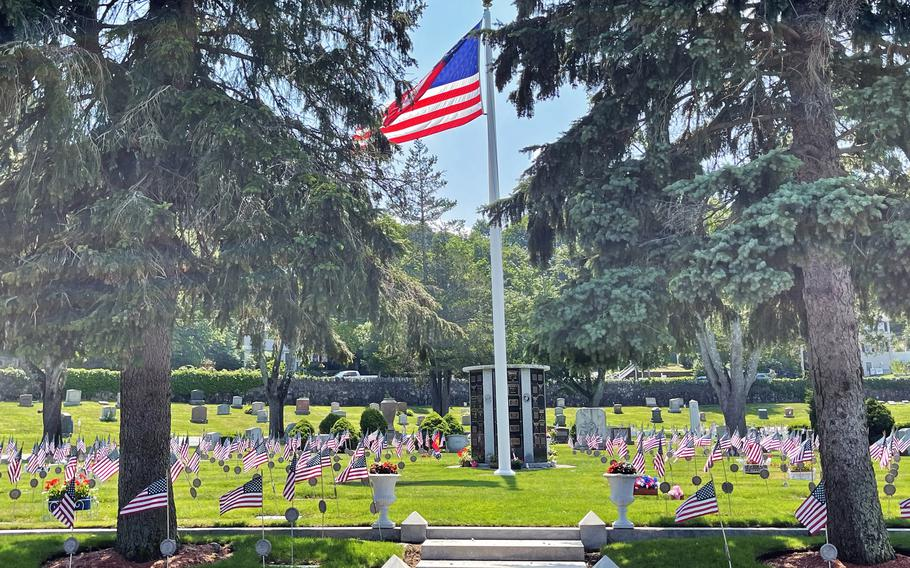 The main veterans' lot at Riverside Cemetery on July 7, 2021. Vietnam veteran Gordon Shepard has spent years volunteering at the cemetery, cleaning it up and fixing areas that needed attention.