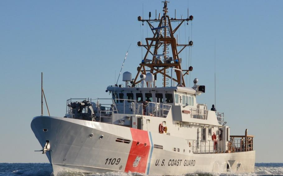 Coast Guard Cutter Kathleen Moore makes way during sea trials in the Gulf of Mexico, Feb. 27, 2014.