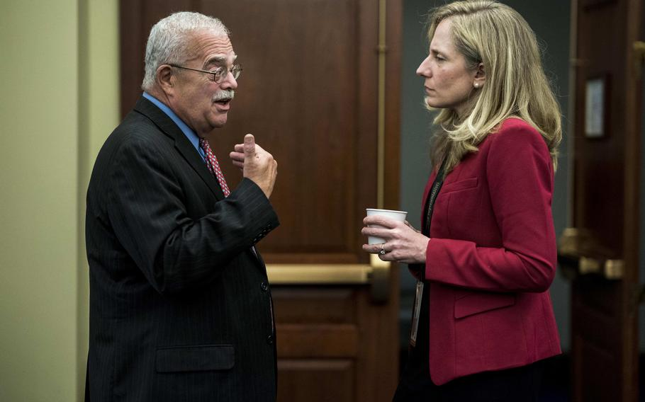 Rep. Gerald Connolly, D-Va., and then-Rep.-elect Abigail Spanberger, D-Va., in 2018. Connolly is working with a nonprofit based in his district, No One Left Behind, forwarding hundreds of cases to the State Department in hopes of bringing stranded Afghans and Americans' dire circumstances more directly to the attention of authorities.
