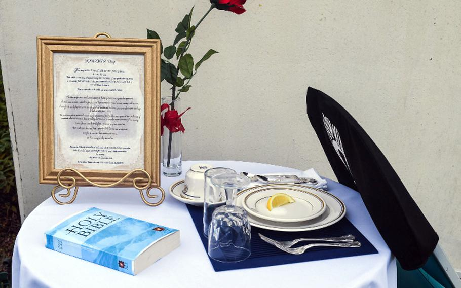 The POW-MIA table is a display often seen in official military dining facilities to honor missing and captured service members.