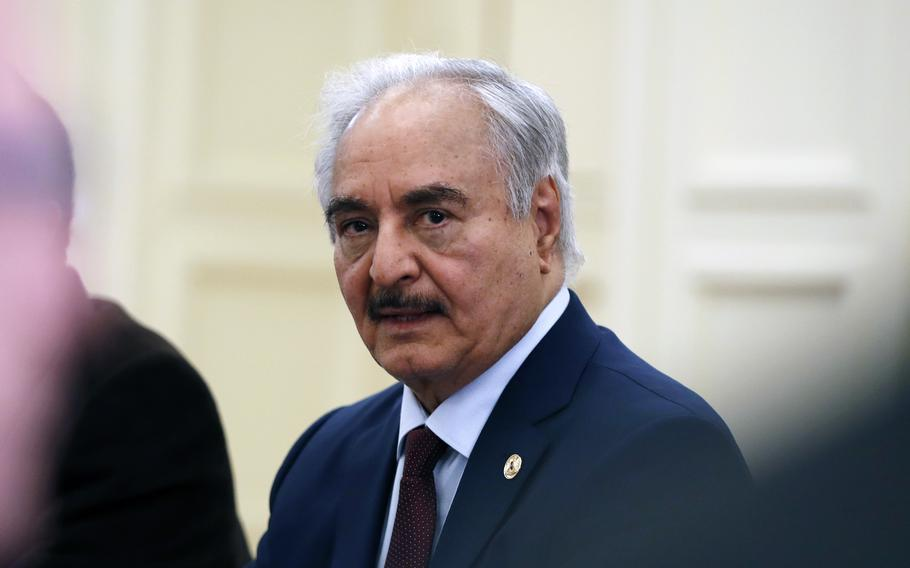 In this Jan. 17, 2020 file photo, Libyan Gen. Khalifa Hifter joins a meeting with the Greek Foreign Minister Nikos Dendias in Athens.