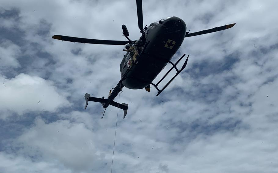 A UH-72 Lakota helicopter conducts training for rescue missions in Hammond, La.