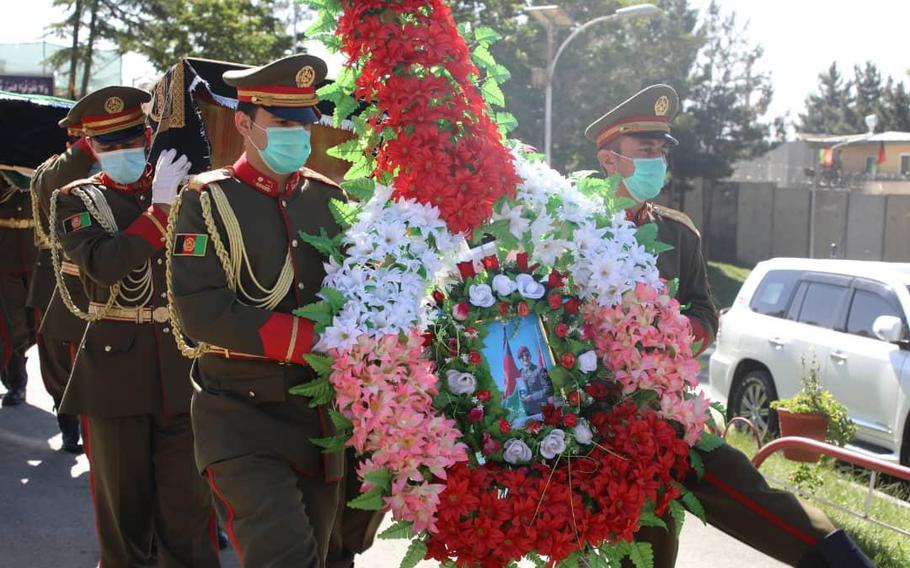 Mourners remember the life of Maj. Sohrab Azimi, an American-educated Afghan commando, in a funeral in Kabul, Afghanistan, June 19, 2021.