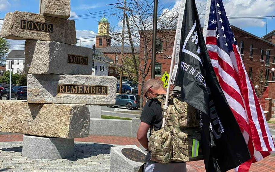 Air Force veteran Jim Taylor walked 22.75 miles in New Hampshire, from Wallis Sands in Rye to Hampton Beach State Park, and back again, to raise awareness about veteran suicides and raise funds for Mission 22, which provides help for treatment for post-traumatic stress and traumatic brain injury.