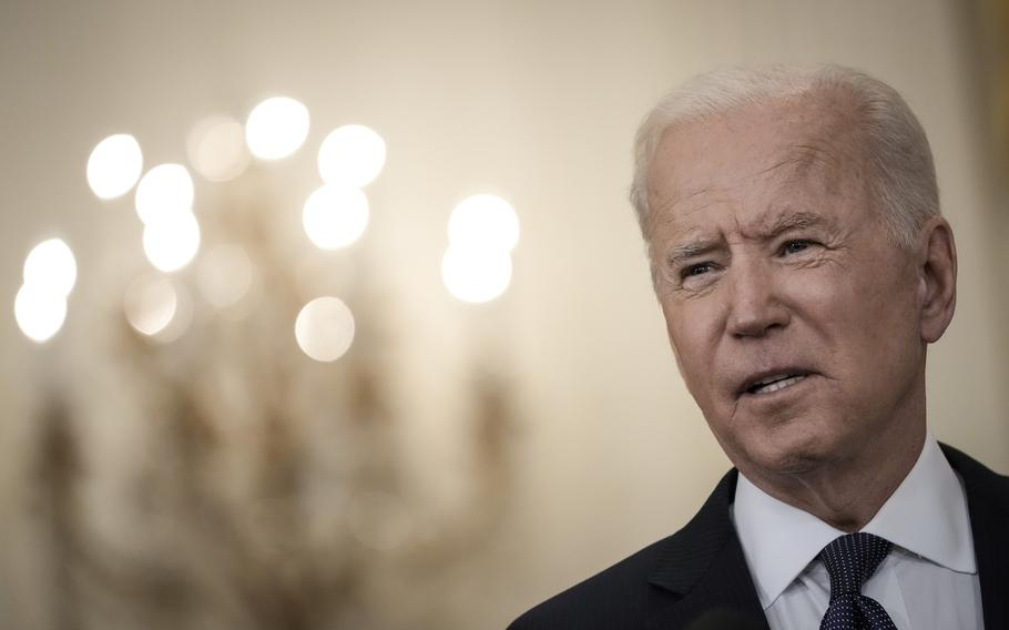 President Joe Biden in the East Room of the White House on May 10, 2021, in Washington, D.C.