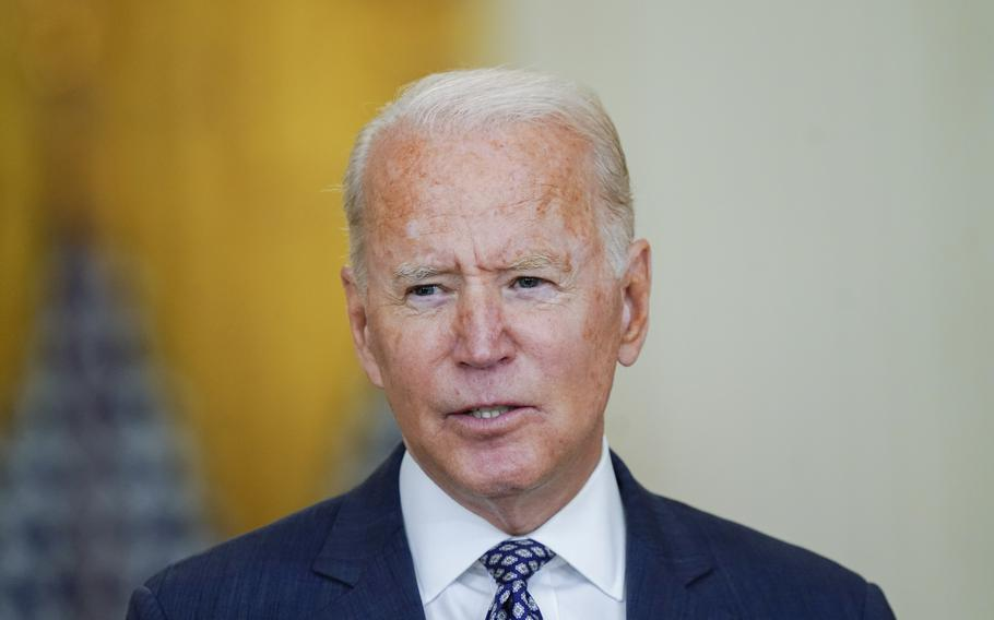 President Joe Biden speaks about the evacuation of American citizens, their families, SIV applicants and vulnerable Afghans in the East Room of the White House in Washington on Aug. 20, 2021.
